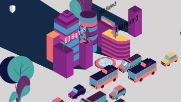 Illustration av stadsmiljö med byggnader och arbetsplatser.